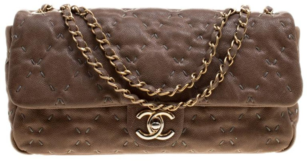 d013e450762bda Chanel Taupe Quilted Wild Stitch Caviar Leather Classic Flap Shoulder Bag  in Natural - Lyst
