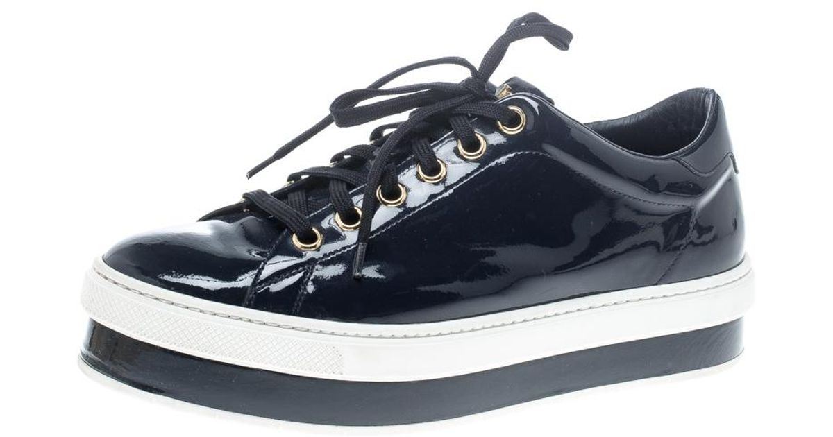 5a8546f2a1ef Louis Vuitton Patent Leather Lace Up Platform Sneakers in Blue - Lyst