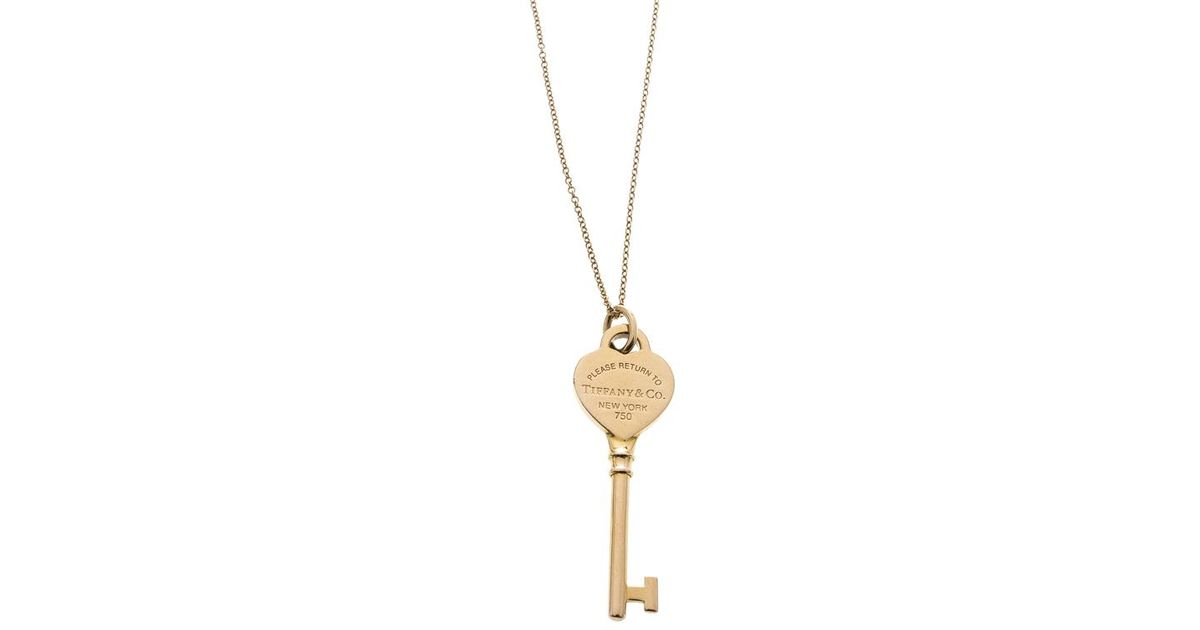 df1120193 Tiffany & Co. Return To Tiffany Heart Key 18k Rose Gold Pendant Necklace in  Metallic - Lyst