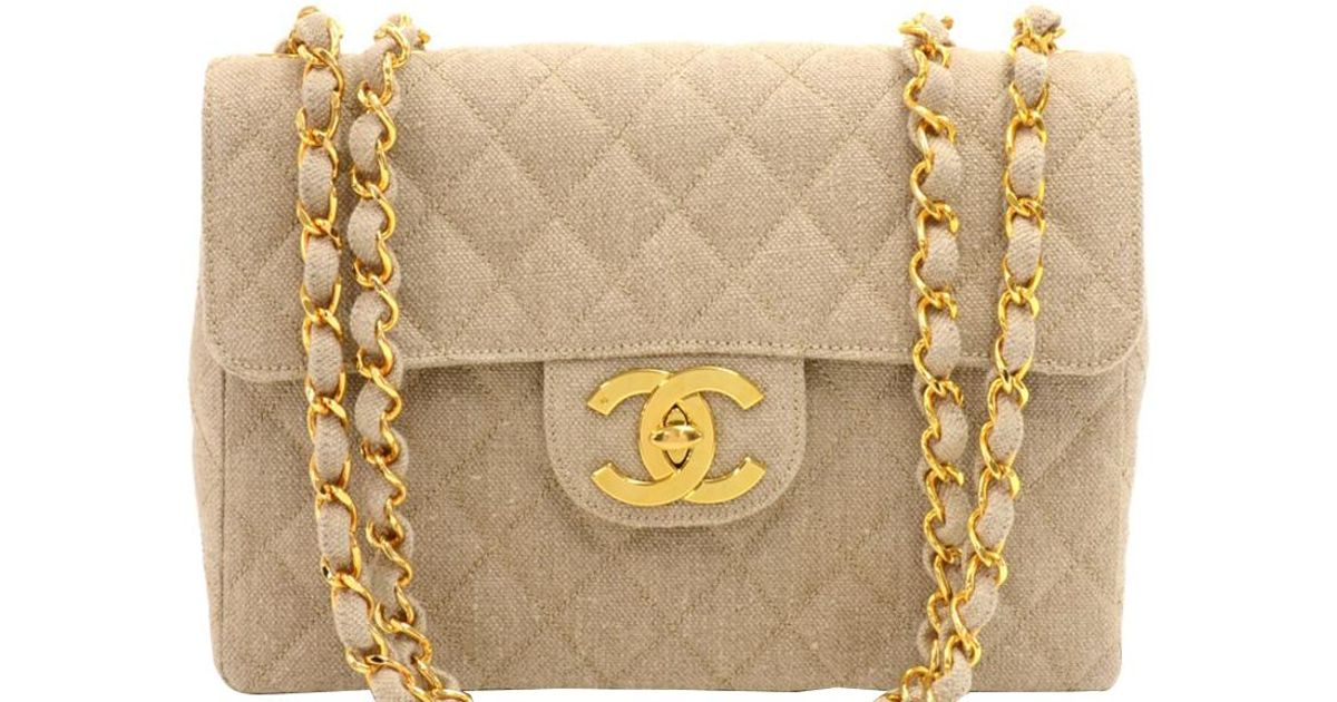 c67cee20ba5c71 Chanel Beige Quilted Canvas Jumbo Vintage Flap Bag in Natural - Lyst