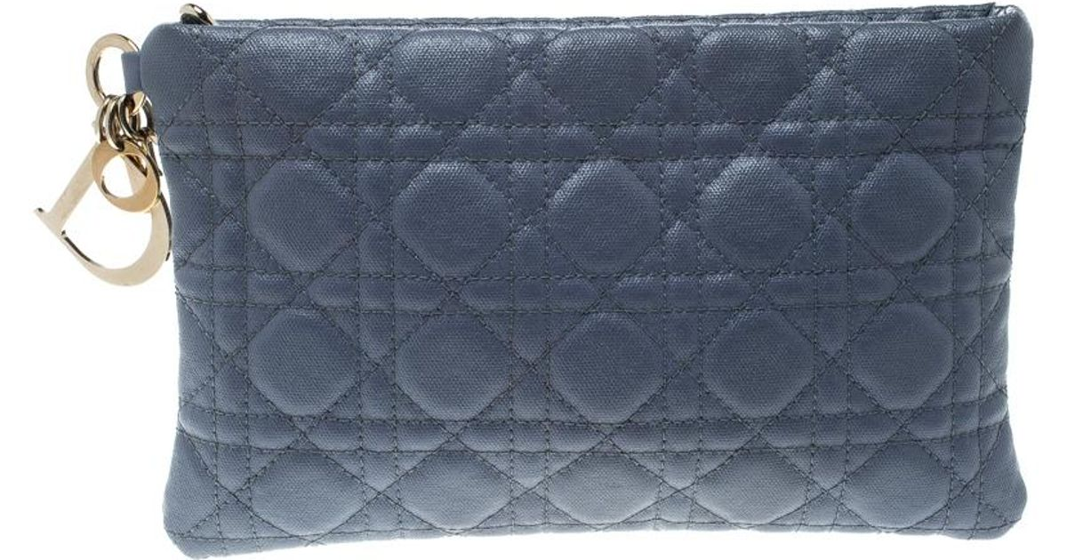 bf12e7b91e73 Lyst - Dior Grey Cannage Coated Canvas Panarea Clutch in White