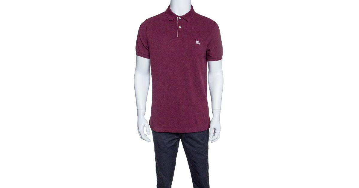 100f178e0 Burberry Brit Burgundy Honeycomb Knit Novacheck Placket Detail Polo T-shirt  L in Purple for Men - Lyst