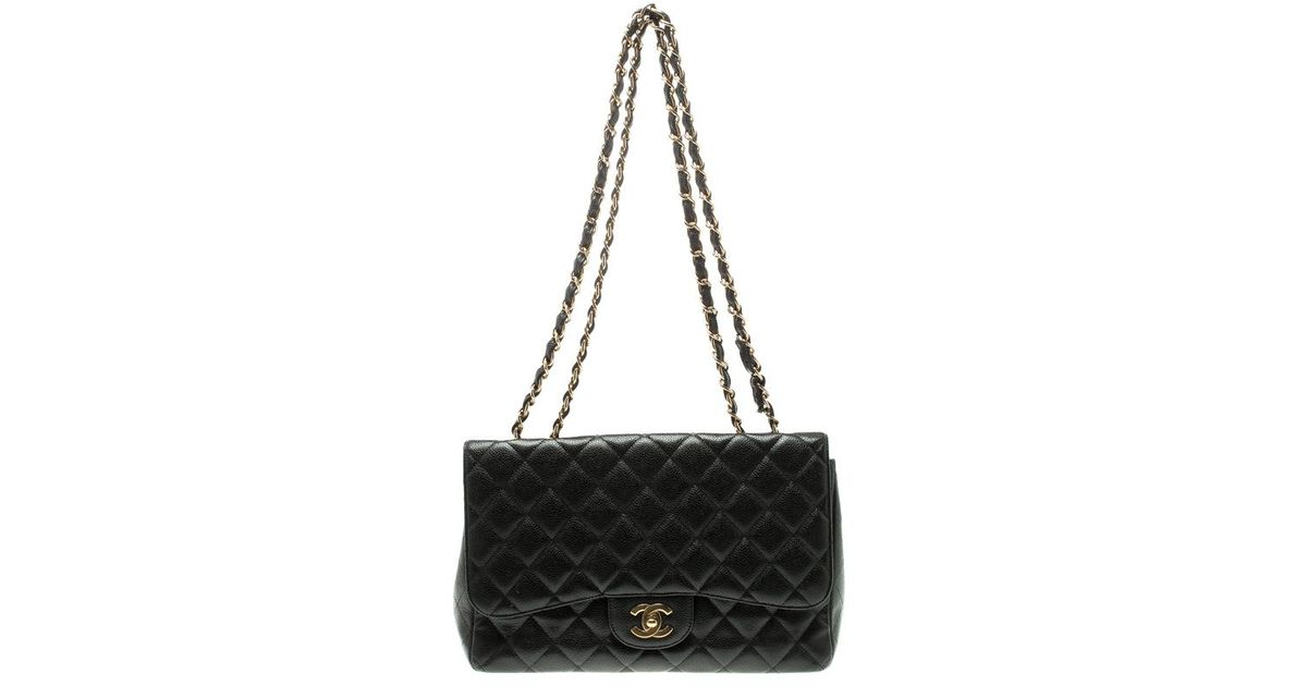 46ce2bd66d13 Chanel Quilted Caviar Leather Jumbo Classic Single Flap Bag in Black - Lyst