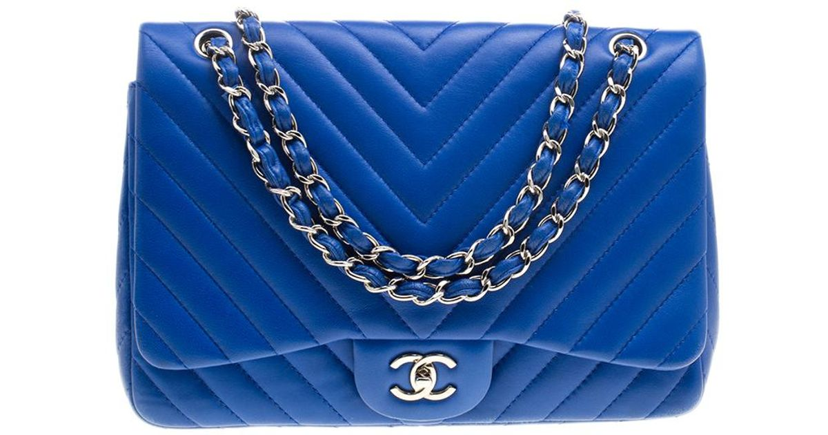 cc3c1f44ab8b Chanel Chevron Quilted Leather Jumbo Classic Flap Bag in Blue - Lyst