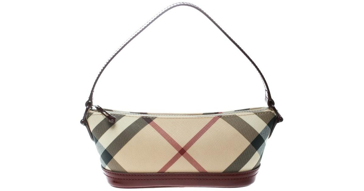 f94b3ff691 Burberry Beige/ Nova Check Canvas And Patent Leather Pochette in Red - Lyst