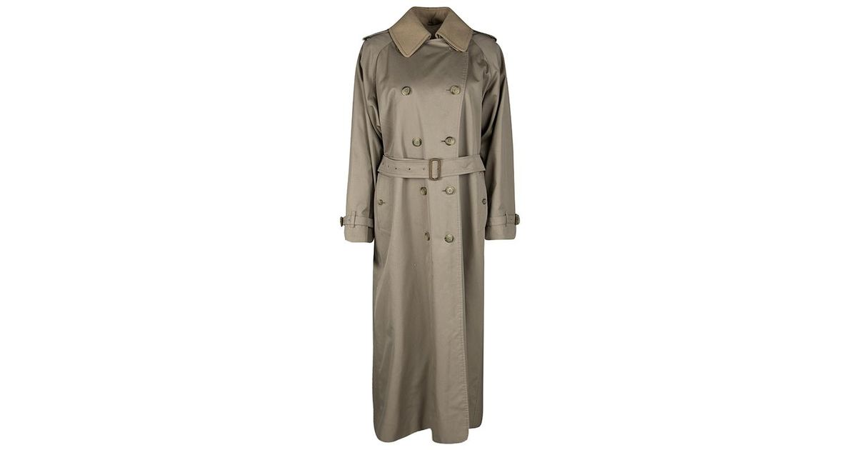 146927f366b Lyst - Burberry Vintage Wool Collar Detail Double Breasted Extra Long Belted  Trench Coat S in Natural
