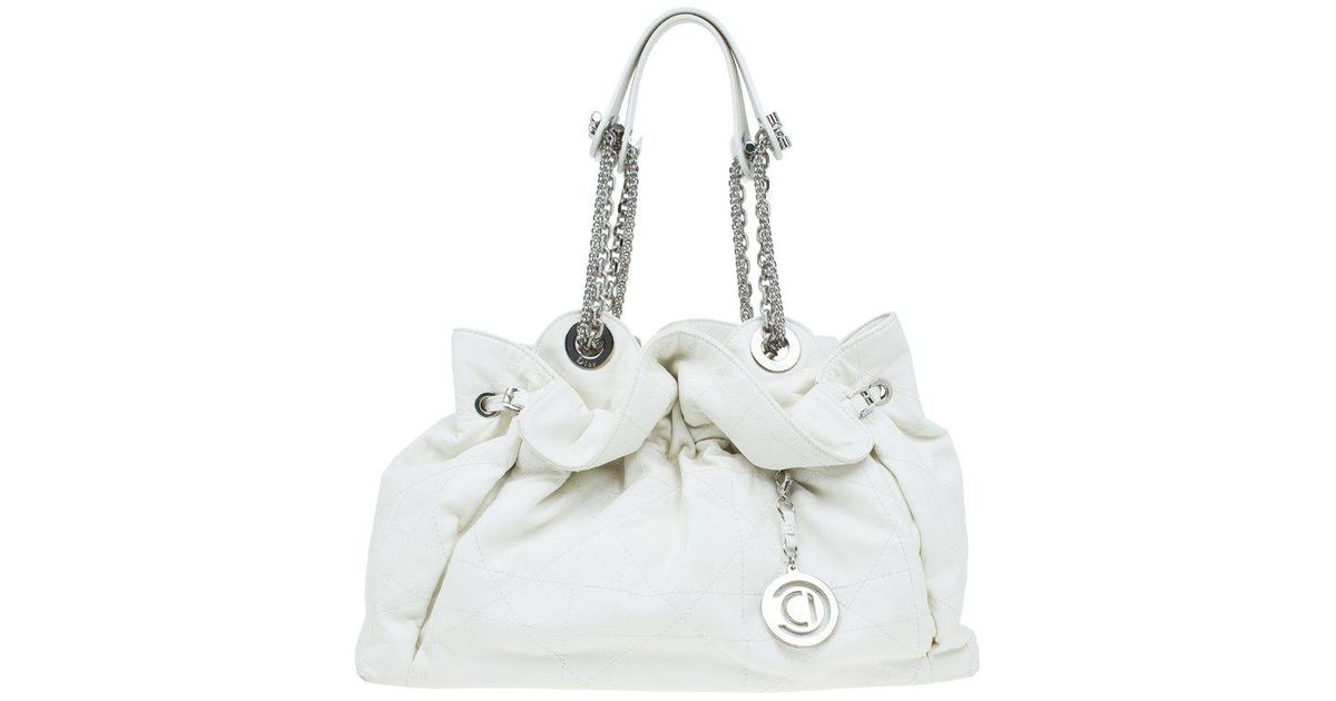 Lyst - Dior Quilted Cannage Leather Le Trente Hobo in White a93f9a35a68e2