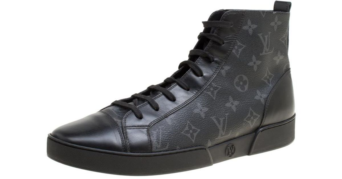 c01451b4425 Louis Vuitton Black Monogram Canvas Match Up High Top Sneakers for men