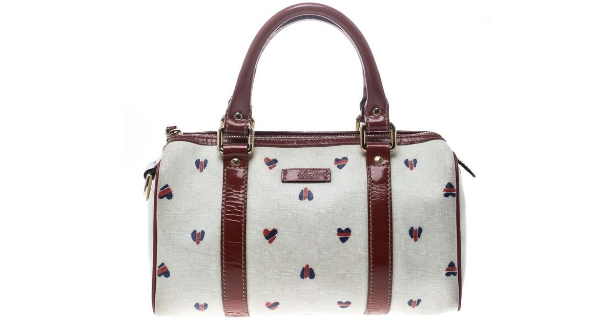 98ac9e27756f Gucci Off /red Coated Canvas And Patent Leather Joy Heart Boston Bag in  White - Lyst