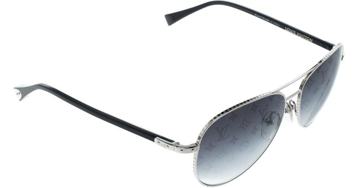 b82e155499ec Lyst - Louis Vuitton Silver monogram Gradient Z0165u Conspiration Pilote Aviator  Sunglasses in Black