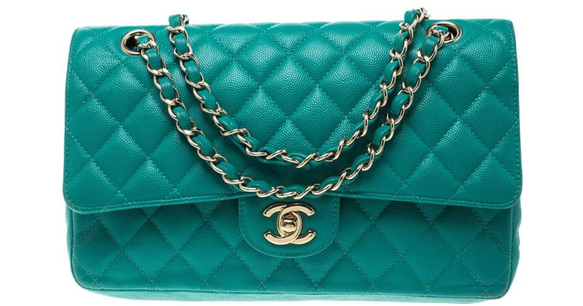 39821aff54f1 Chanel Quilted Caviar Leather Medium Classic Double Flap Bag in Green - Lyst