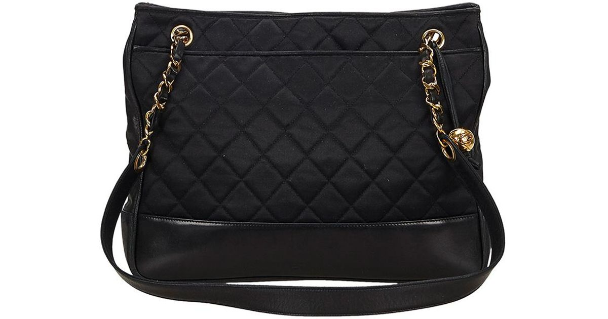 Chanel Quilted Nylon Chain Bag in Black - Lyst 761315a88939f