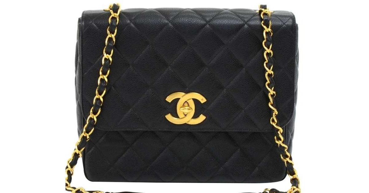 fe6177c61eac75 Lyst - Chanel Quilted Caviar Vintage Flap Bag in Black