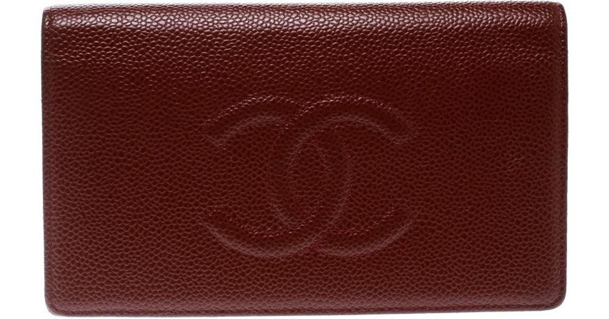 6e147e13db7d Chanel Burgundy Caviar Leather Cc Long Bifold Wallet - Lyst