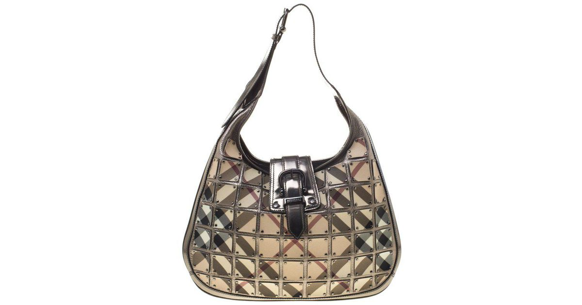 590100acaea3 Lyst - Burberry Dark Grey Nova Check Brooke Warrior Hobo in Metallic