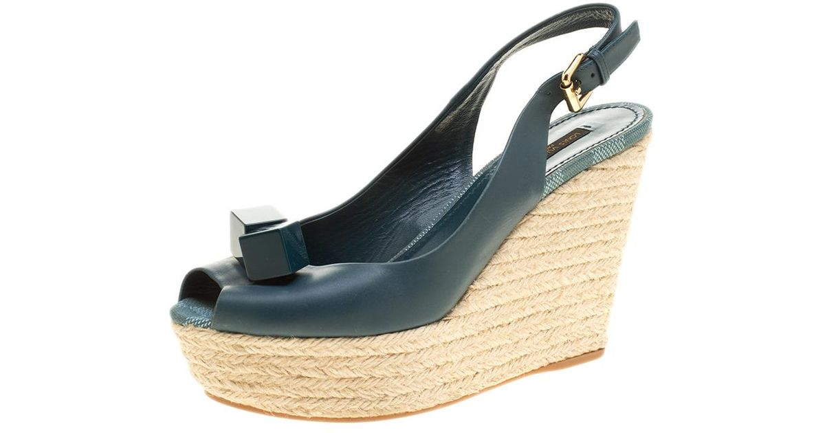 63c6f02d49ea Lyst - Louis Vuitton Green Leather Gossip Cube Embellished Espadrille Wedge  Peep Toe Slingback Sandals Size 38.5 in Green