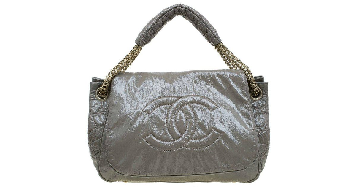 3f3588dbe009 Lyst - Chanel Olive Patent Leather Rock And Chain Accordion Flap Bag in  Green