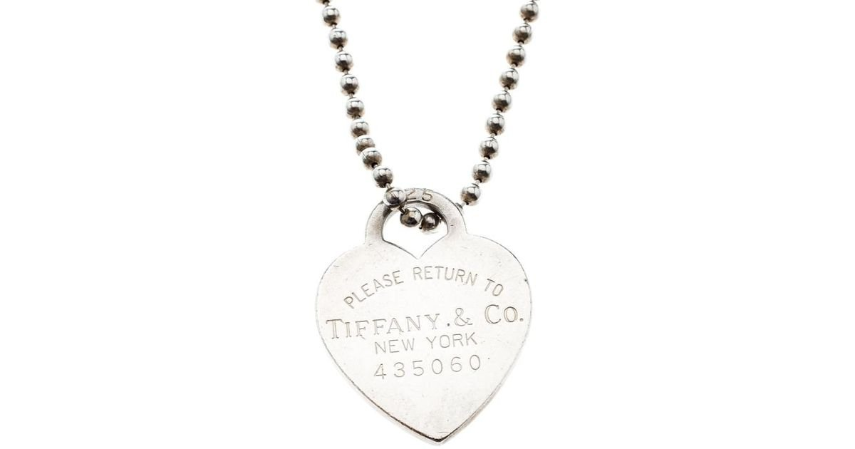 Tiffany Co Return To Tiffany Heart Tag Pendant Necklace In Silver Metallic Lyst