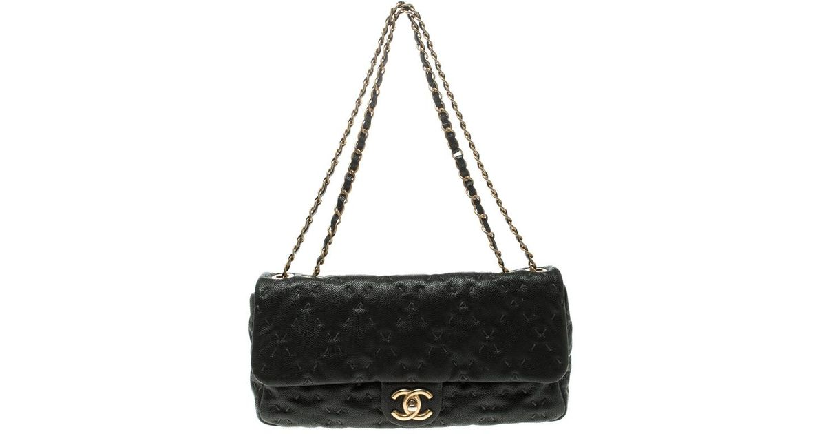 03e7368c6801 Chanel Black Quilted Wild Stitch Caviar Leather Classic Flap Shoulder Bag  in Natural - Lyst