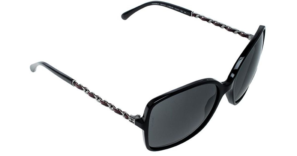 9c3cac24b37ee Chanel 5210-q Tortoise Shell Chain Detail Square Sunglasses in Black - Lyst