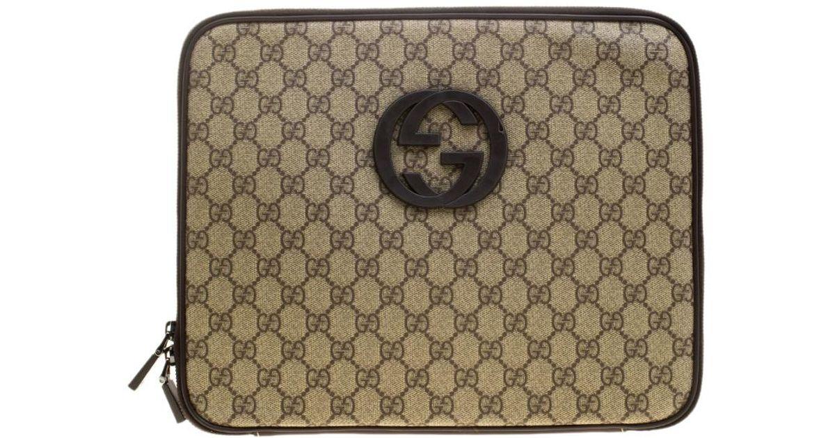 79540185543 Lyst - Gucci Beige GG Supreme Canvas Interlocking GG Netbook Case in  Natural for Men