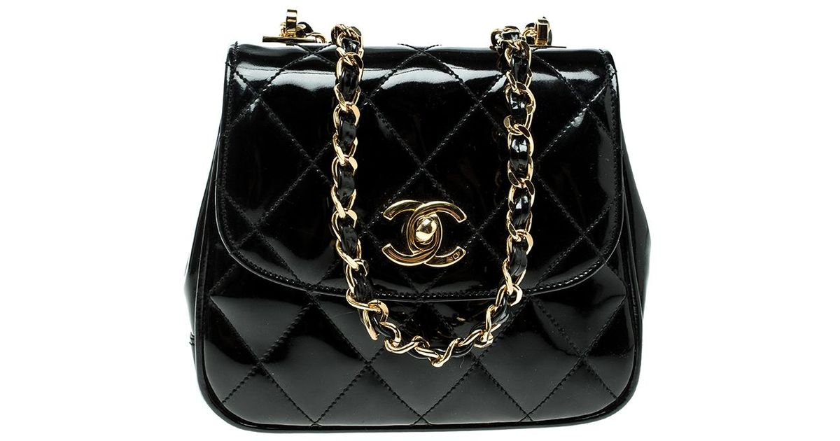20ca77bda7c0 Chanel Quilted Patent Leather Vintage Mini Single Flap Bag in Black - Lyst
