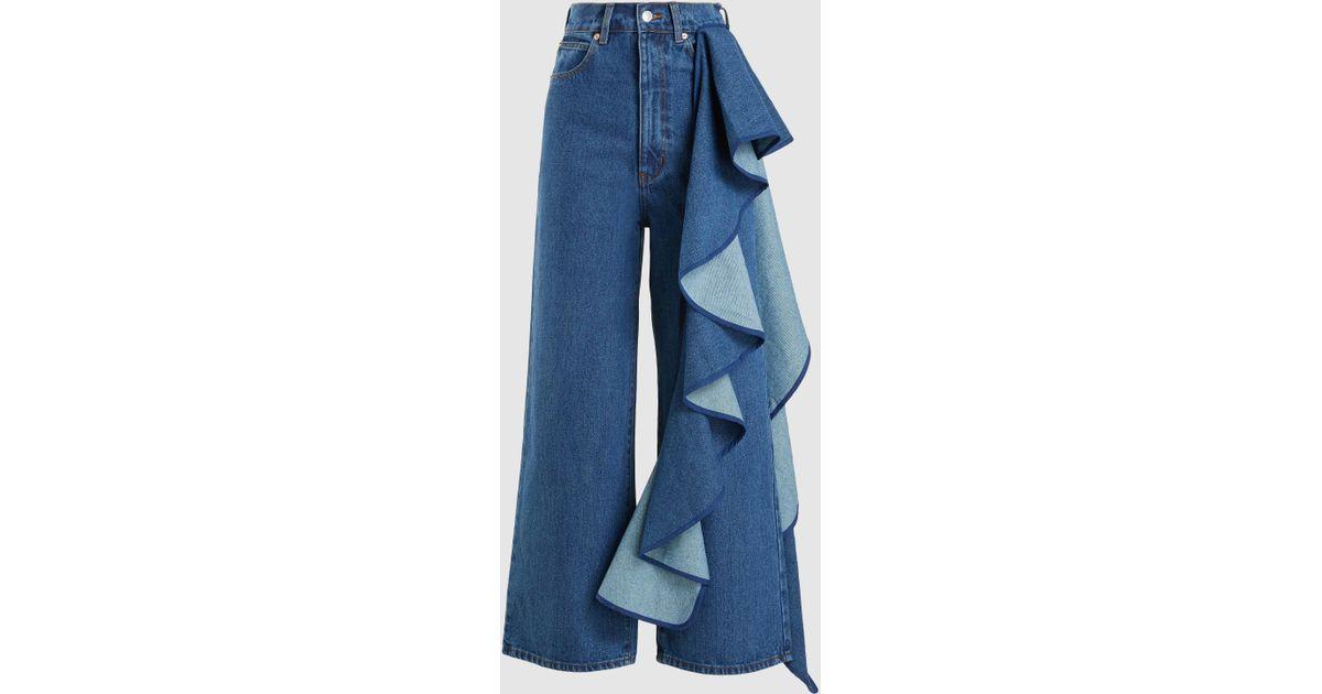 9eaab466637877 Solace London Tay Ruffle Detail Wide Leg Jeans in Blue - Lyst