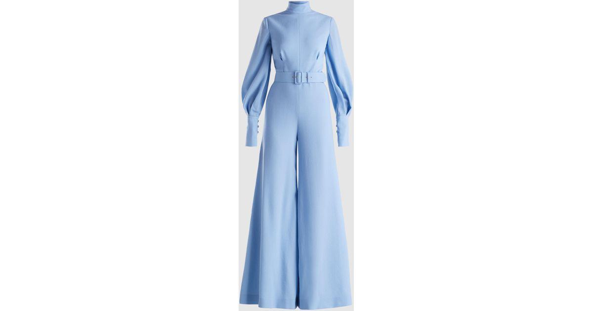 f504ce5f07 Emilia Wickstead Elvis Wool-blend Jumpsuit in Blue - Lyst