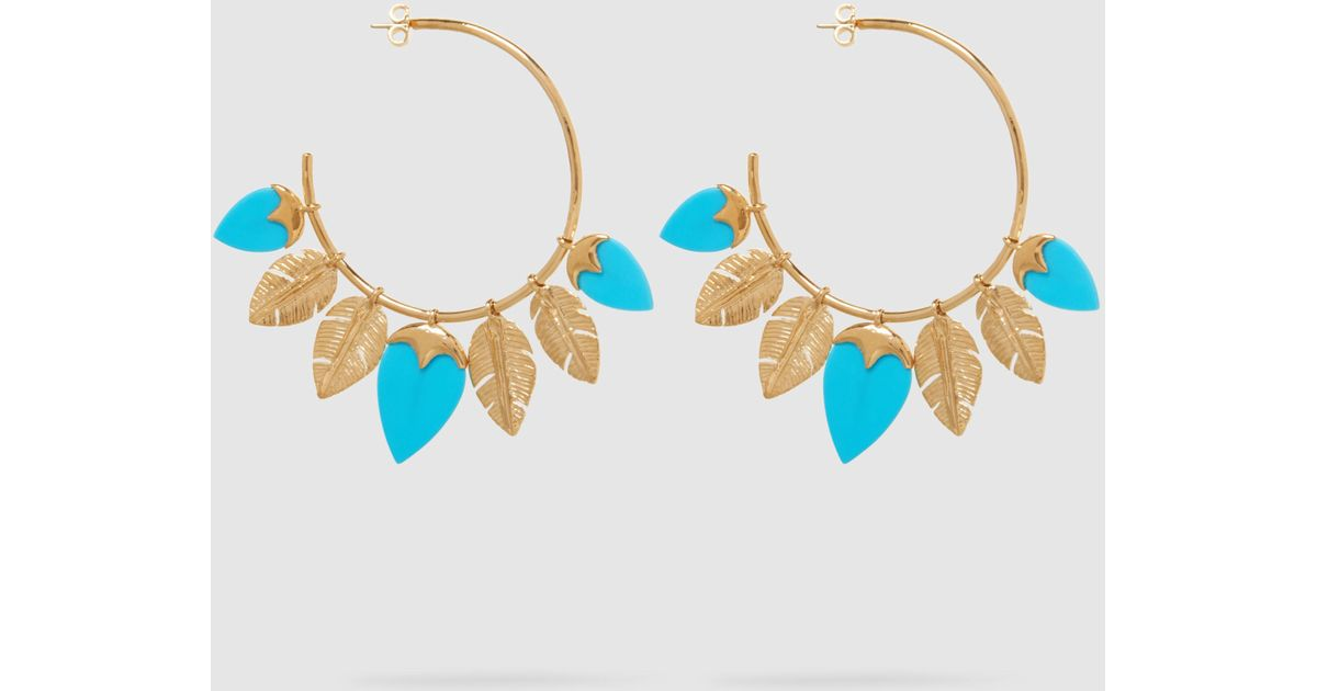Talitha Gold-plated Turquoise Hoop Earrings - one size Aur 2xeSOR
