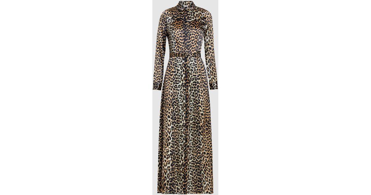 f8e848d5 Lyst - Ganni Dufort Printed Stretch-silk Maxi Dress