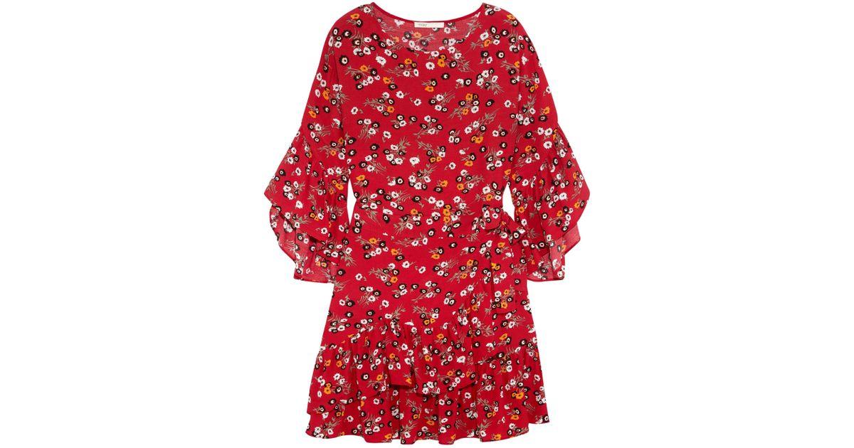 bd1d3059426e Maje Ruffled Floral-print Crepe Mini Dress in Orange - Lyst