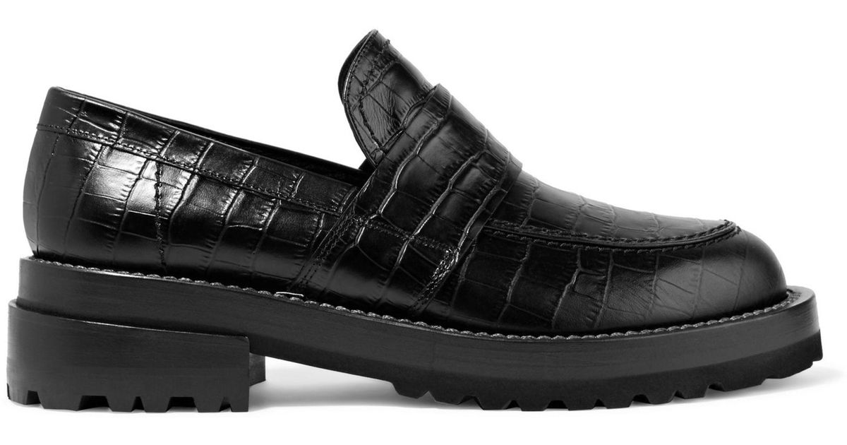 e934189b877 Lyst - Marni Croc-effect Leather Loafers in Black