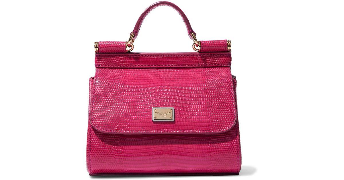 4b060bff Dolce & Gabbana Woman Sicily Lizard-effect Leather Shoulder Bag Magenta -  Lyst