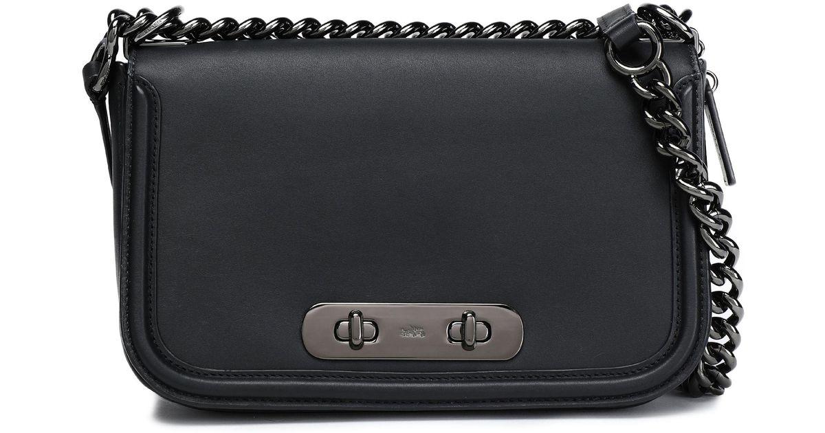 18b721a025 COACH Black Chain-trimmed Leather Shoulder Bag