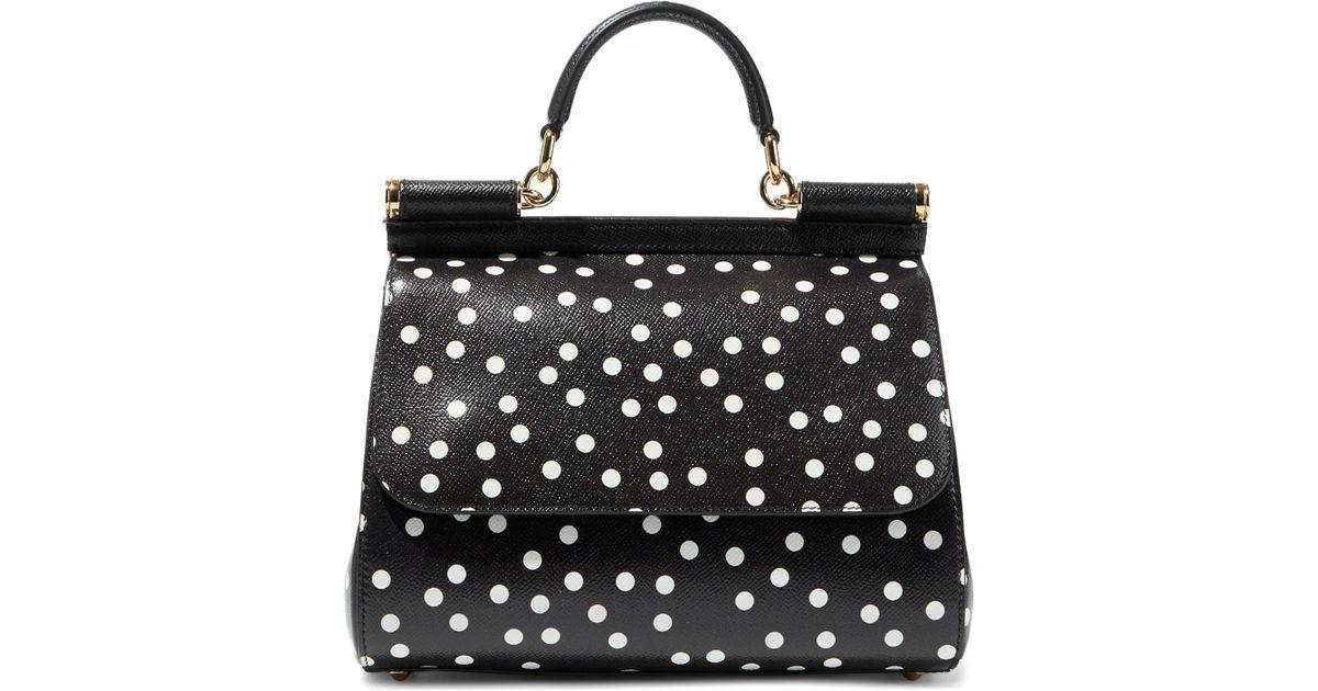 2d3f3fb19066 Lyst - Dolce   Gabbana Sicily Polka-dot Textured-leather Shoulder Bag in  Black