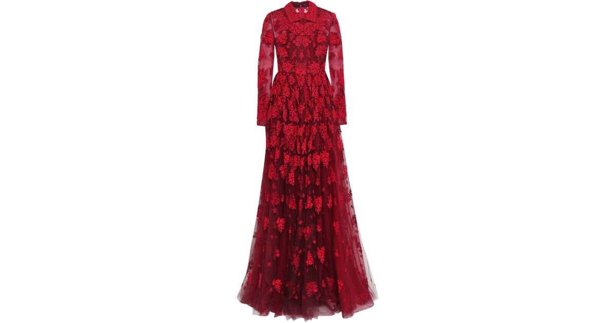 586faf4979c0c Valentino Woman Pleated Bead-embellished Tulle Gown Claret in Red - Lyst