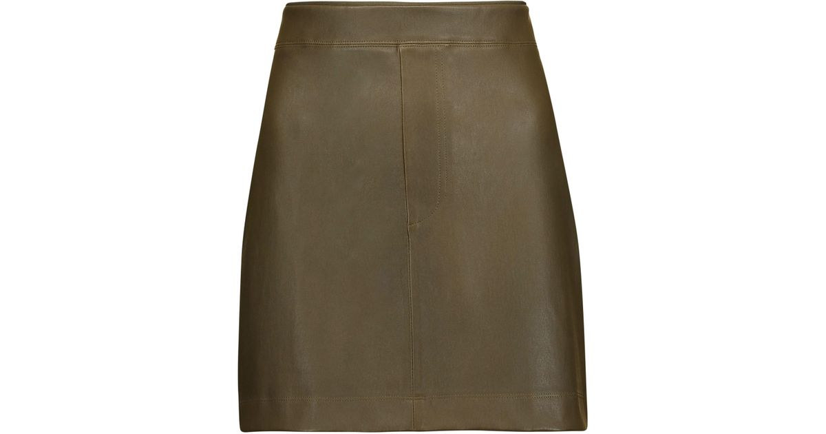 f2d04cef2c Helmut Lang Stretch-leather Mini Skirt Army Green in Green - Lyst