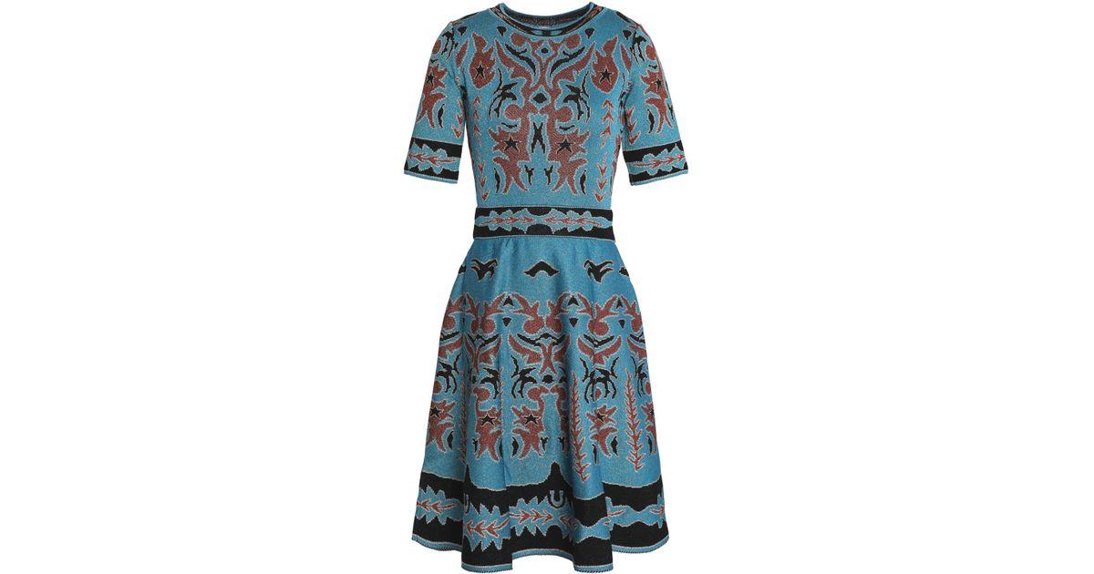 6255baa34d1ea M Missoni 1/2-sleeve Shimmer Intarsia Fit & Flare Dress in Blue - Lyst