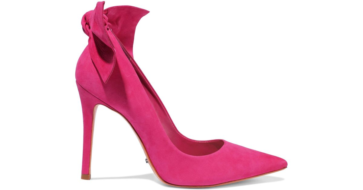 675e5c65f94 Lyst - Schutz Woman Blasiana Bow-embellished Nubuck Pumps Fuchsia in Pink