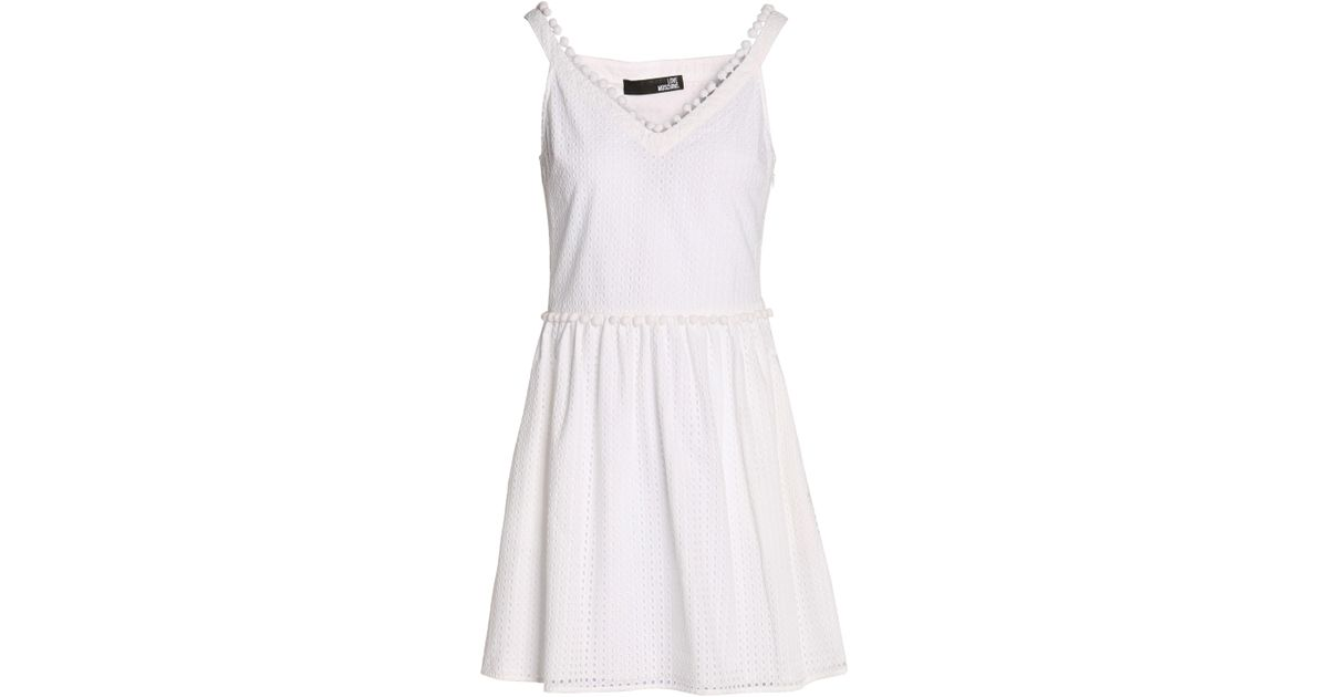 Love Moschino Woman Pompom-embellished Broderie Anglaise Cotton Mini Dress White Size 42 Love Moschino Safe Payment NMe9D6