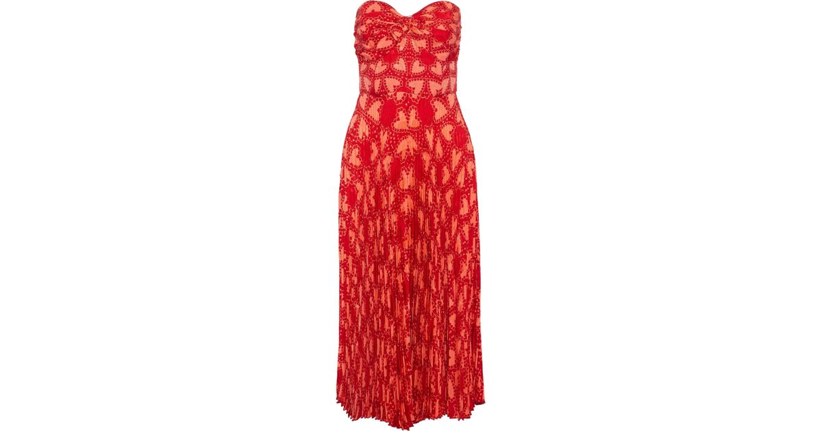 6dc7017780e Anna Sui Chasing Hearts Silk-blend A-line Dress in Red - Save 58% - Lyst
