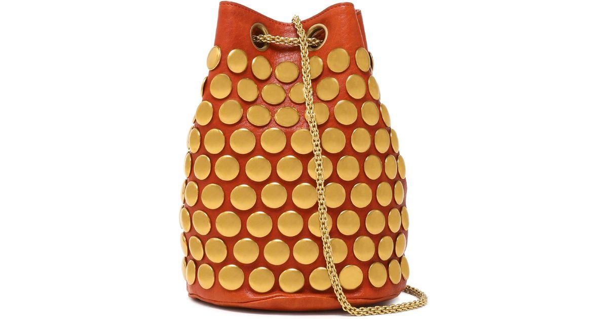 89d9dfd5292d Jérôme Dreyfuss Popeye Studded Leather Bucket Bag in Orange - Lyst