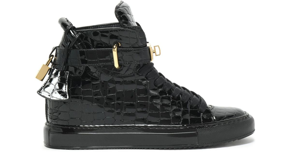 ed32c0e8cee783 Lyst - Buscemi Embellished Croc-effect Patent-leather High-top Sneakers in  Black
