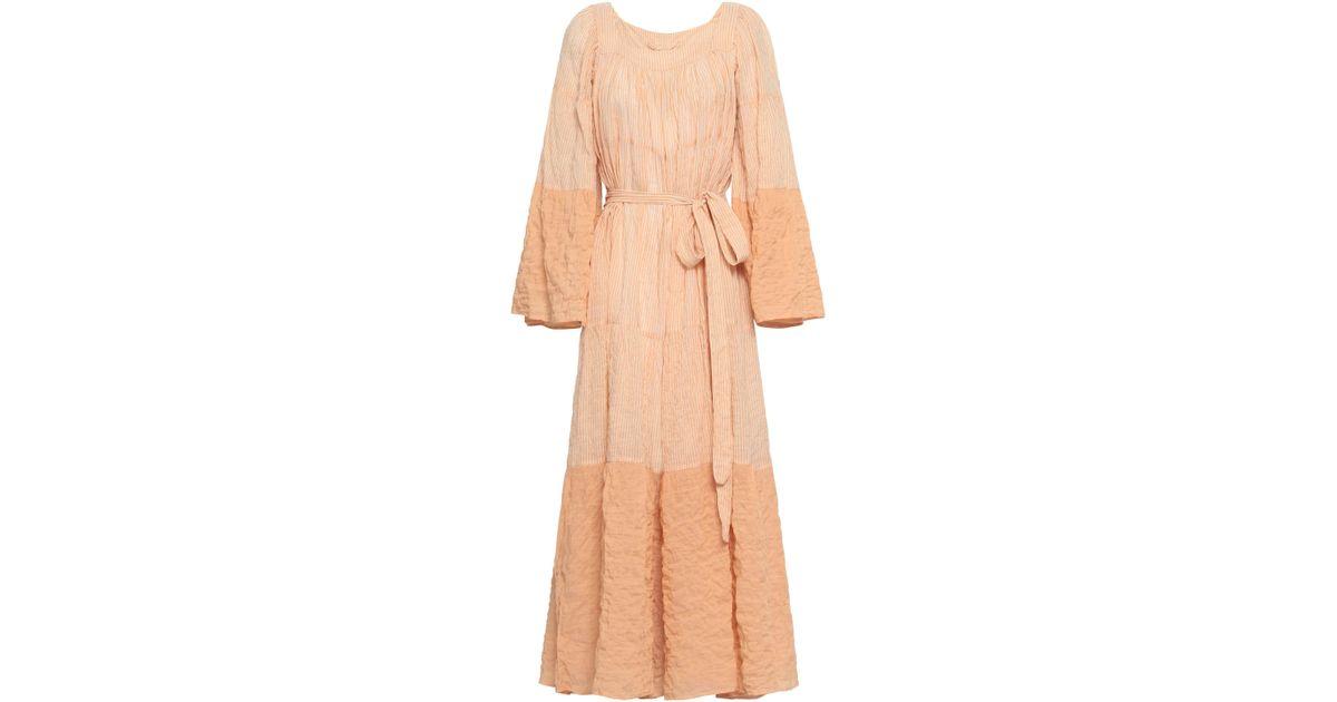 e8a935bba7 Lisa Marie Fernandez Woman Striped Cotton-blend Seersucker Coverup Pastel  Orange in Orange - Lyst