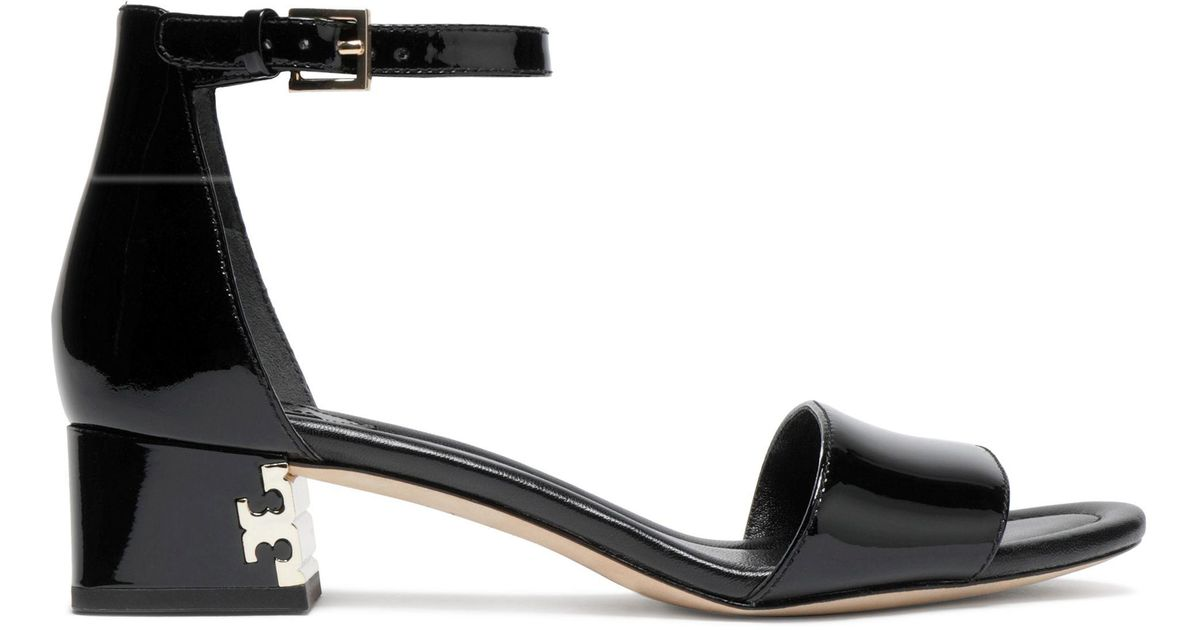 885c93cc1258 Tory Burch Finley Embellished Patent-leather Sandals in Black - Lyst