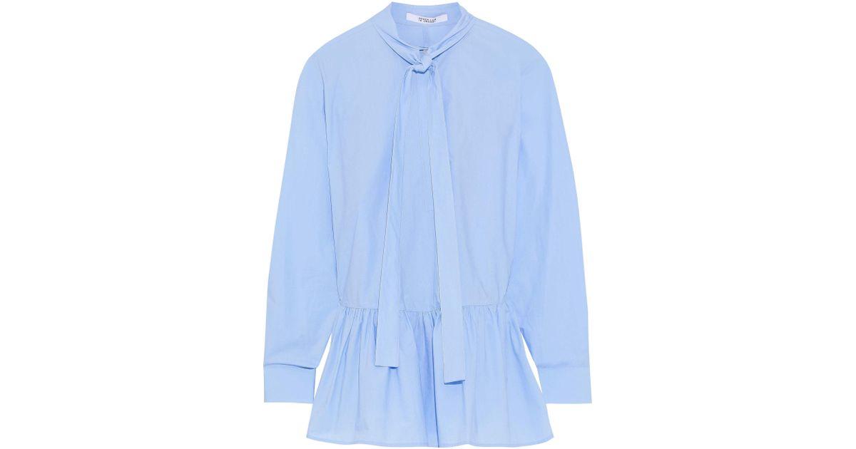 03248349aba60 10 Crosby Derek Lam Woman Pussy-bow Cotton-poplin Peplum Top Light Blue in  Blue - Lyst