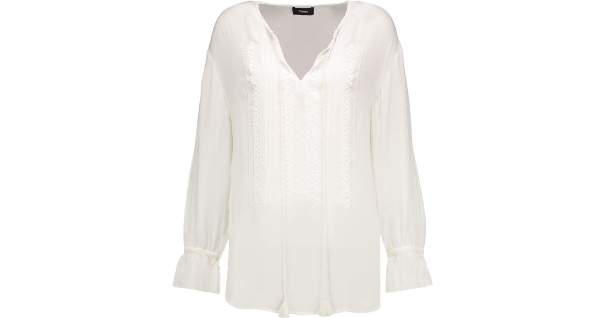 Theory Woman Tie-front Washed-silk Shirt White Size XS Theory Affordable Cheap Price Shop Cheap Online Recommend Sale Best Seller Sale Outlet VyD2tpqL