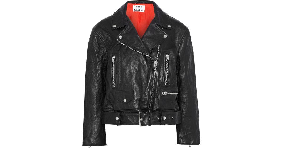 031690e9c Acne Merlyn Crinkled-leather Biker Jacket Black