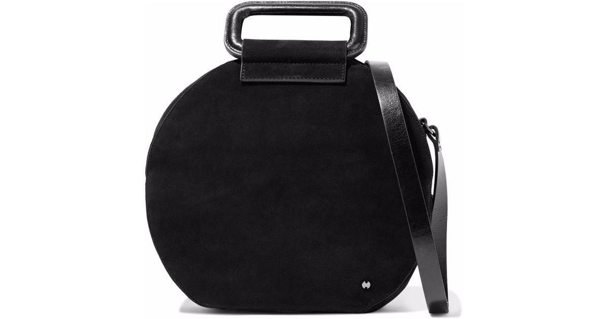 Lyst Halston Heritage Glossed Leather Trimmed Suede Shoulder Bag In Black