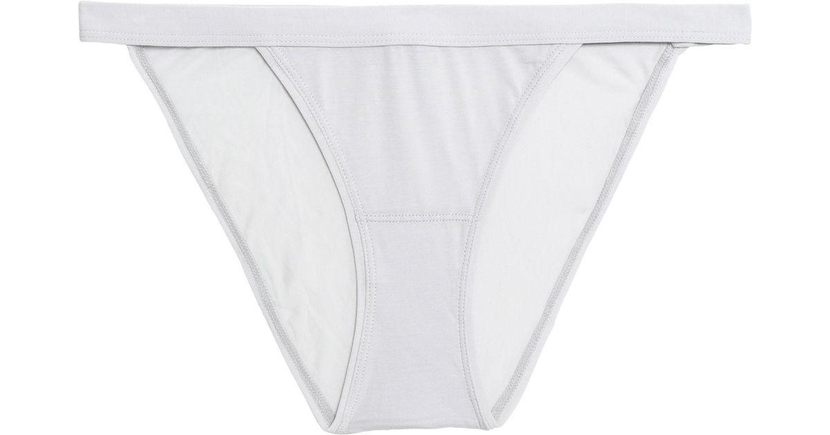 View Bodas Woman Stretch Pima Cotton-jersey Mid-rise Thong Light Gray Size M Bodas Cheap Sale Outlet Store Z8eSpAmX